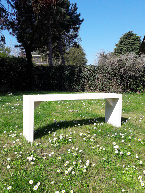 Panchina da giardino in legno massello sbiancato